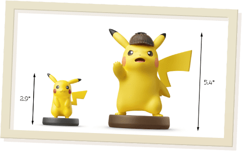 Height comparison of Detective Pikachu amiibo