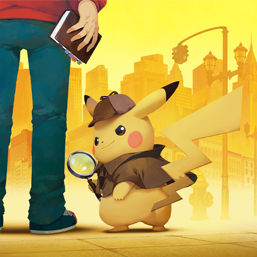 Detective Pikachu with hat and spyglass standing in Ryme city