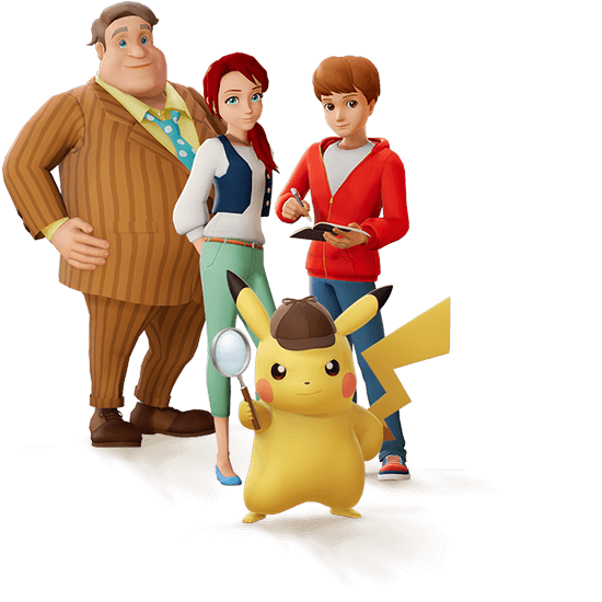 Cast of characters Mike Baker, Emilia Christie, Tim, and Pikachu